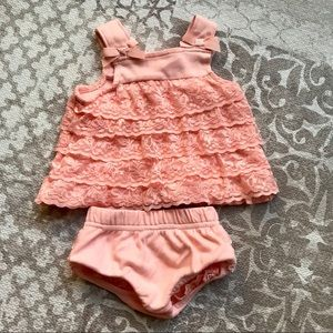 4/$20 - Starting Out Newborn Ruffle Set, Coral